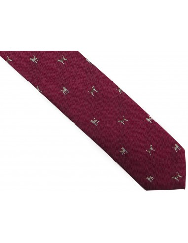 Bordowy krawat męski w psy D284