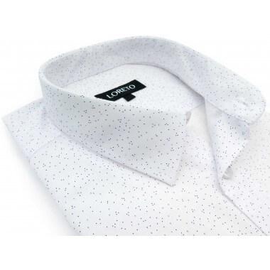 Biała koszula w granatowe...