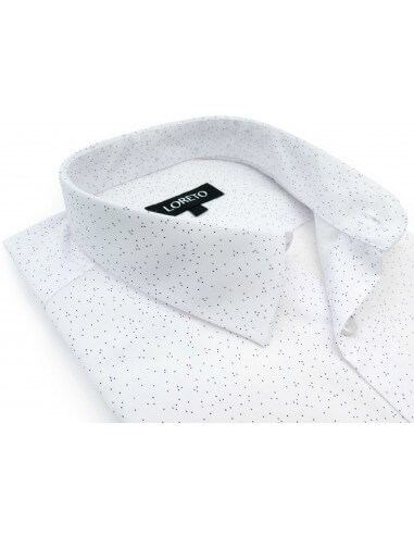 Biała koszula w granatowe kropeczki LR01
