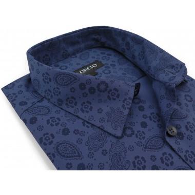 Granatowa koszula we wzór -...