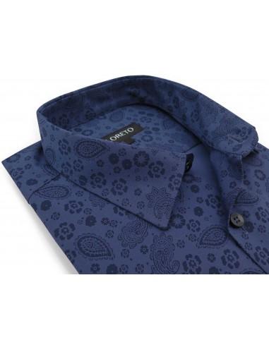 Granatowa koszula we wzór - paisley,...