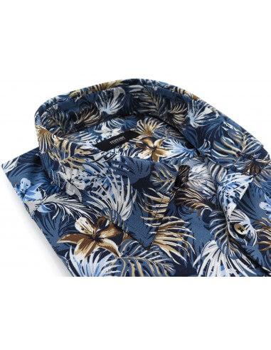 Niebieska koszula w tropikalne kwiaty...