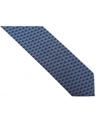 Granatowy krawat męski w błękitny...