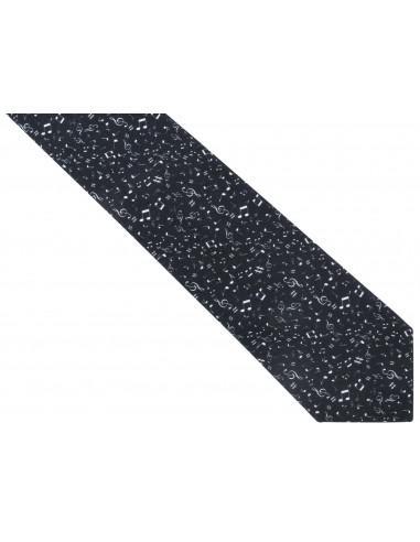 Czarny krawat męski w białe nuty C25