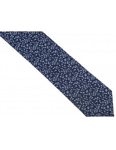 Wąski granatowy krawat męski w nuty C27