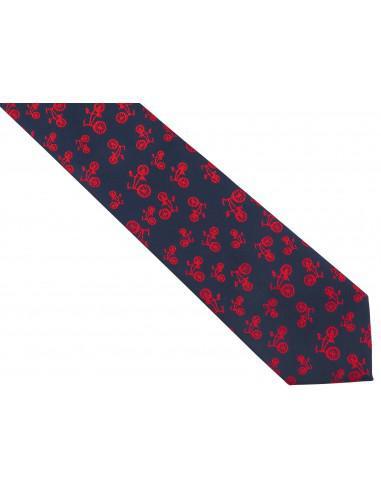 Granatowy krawat męski w czerwone...