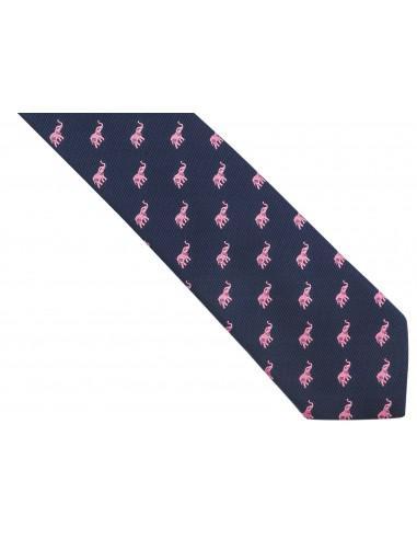 Granatowy krawat męski w różowe...