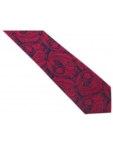 Bordowo-granatowy jedwabny krawat we...