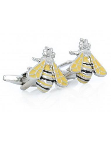 Srebrno-żółte spinki do mankietów -...
