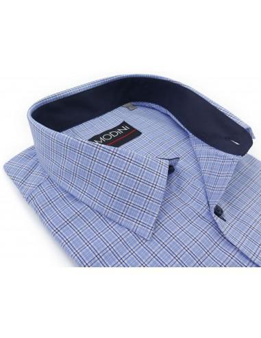 Błękitna koszula w kratkę, z krótkim...