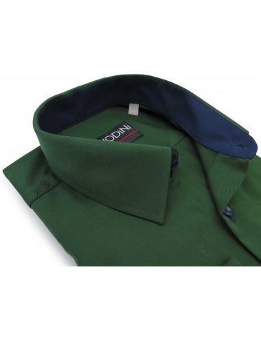 Zielona gładka koszula z granatowymi...