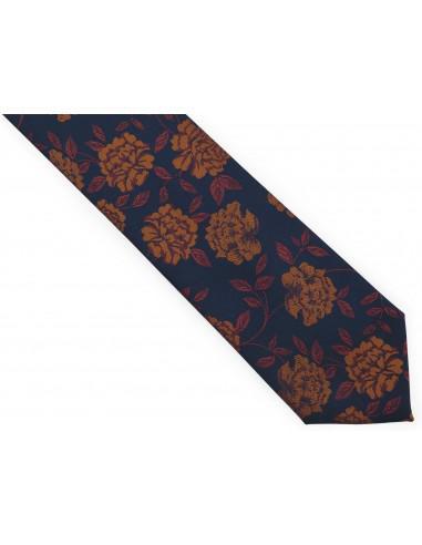 Granatowy krawat męski w miedziane...