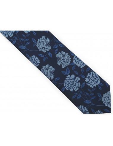 Granatowy krawat męski w błękitne...