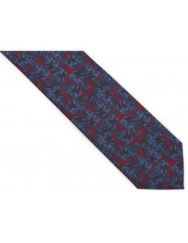 Bordowy krawat męski w niebieskie...