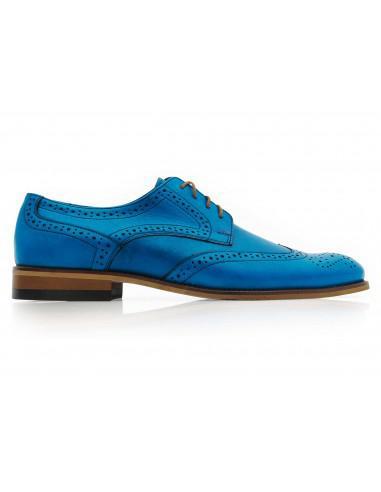 Niebieskie męskie buty wizytowe -...