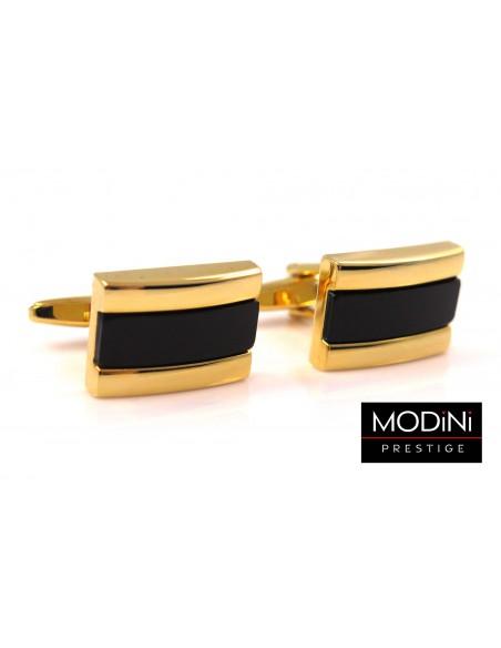 Złote spinki do mankietów z czarnym prostokątem