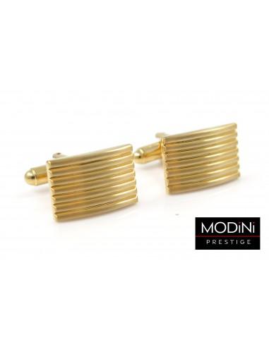 Złote spinki do mankietów z poziomymi liniami