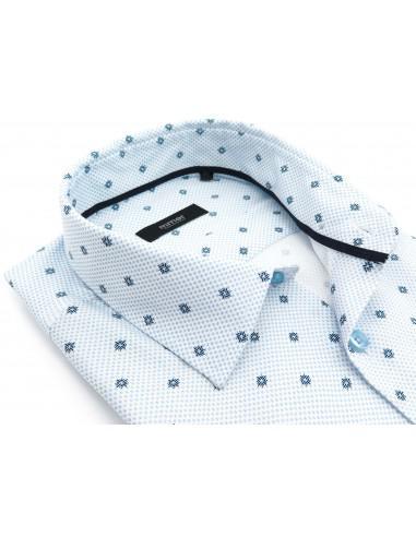 Biała koszula w drobny niebieski wzór...