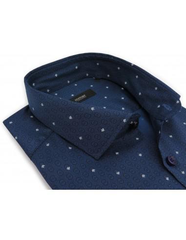 Granatowa koszula w geometryczny wzór...