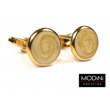 Okrągłe złote perłowe spinki do mankietów A1