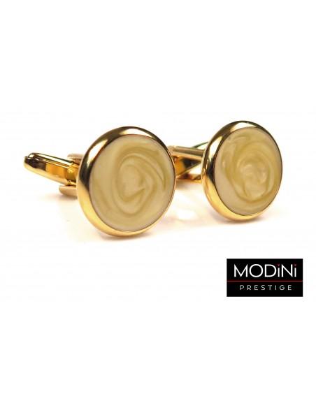 Okrągłe złote perłowe spinki do mankietów