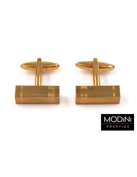 Złote spinki na guziki z drobnymi liniami M102