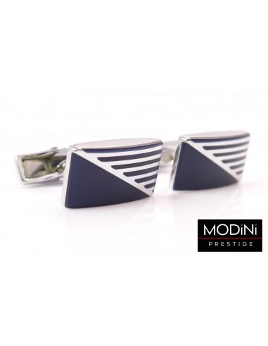 Prostokątne srebrno-niebieskie spinki do mankietów A107