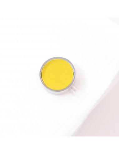 Srebrne okrągłe spinki do mankietów z żółtym oczkiem A109