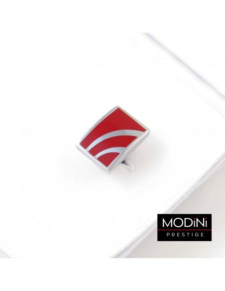 Czerwone prostokątne spinki do mankietów - srebrne łuki N129