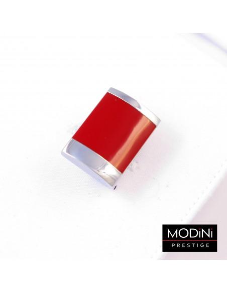 Srebrne prostokątne spinki do mankietów - czerwony kwadrat N133