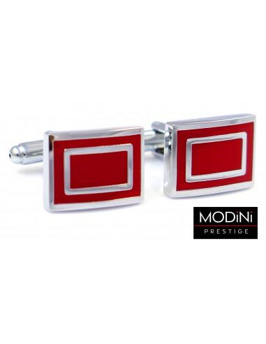 Srebrno-czerwone spinki do mankietów - prostokąty N137
