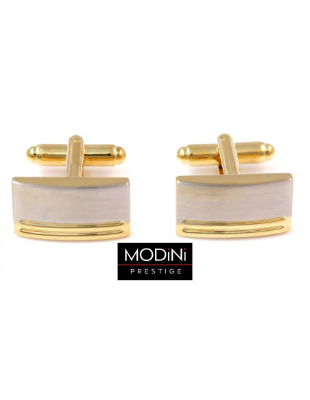 Złoto-srebrne spinki do mankietów - poziome linie N140