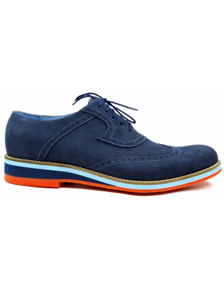 Granatowe męskie buty casualowe z pomarańczową podeszwą T1