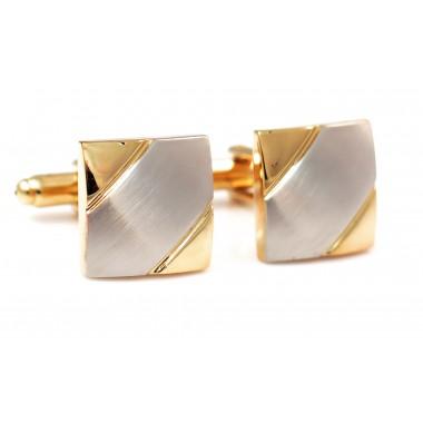 Srebrne kwadratowe spinki do mankietów - złote narożniki N24