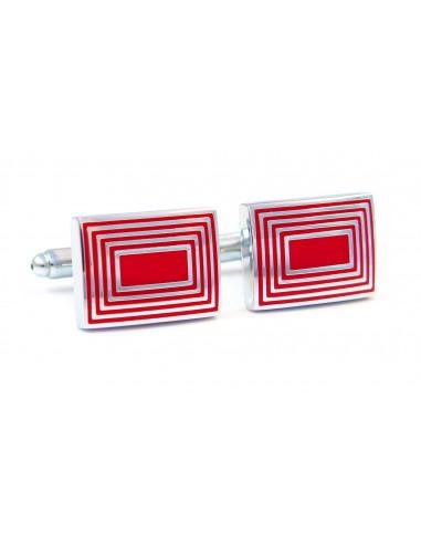 Czerwone spinki do mankietów - srebrne prostokąty N28