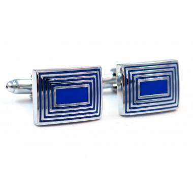 Niebieskie / kobaltowe spinki do mankietów - srebrne prostokąty