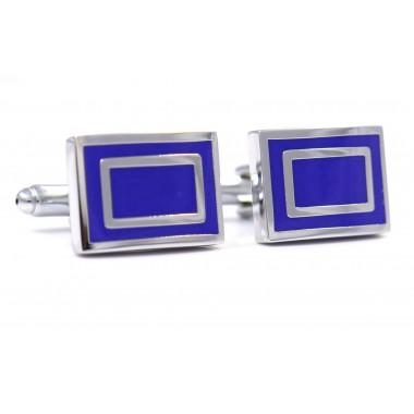 Niebieskie/kobaltowe spinki do mankietów - srebrny prostokąt N30