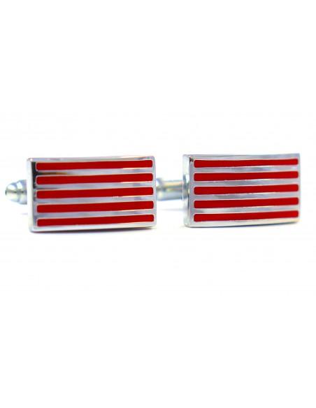 Czerwone spinki do mankietów - srebrne poziome linie N31