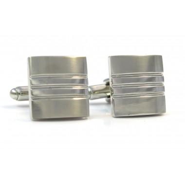 Kwadratowe srebrne błyszcząco-matowe spinki do mankietów N37