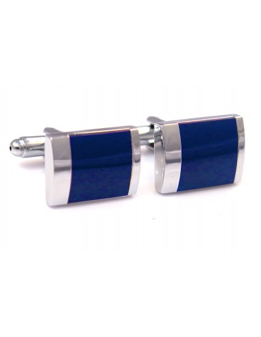 Srebrne prostokątne spinki do mankietów - granatowe kwadraty N6