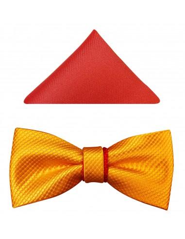 Żółto-czerwona mucha męska z poszetką A30