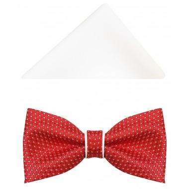 Czerwono-biała mucha męska w drobne kropki A34