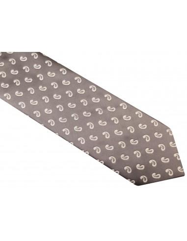Szary krawat męski - biały paisley