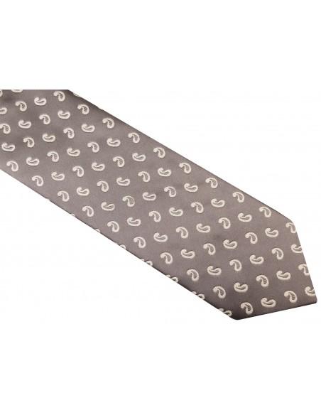 Szary krawat męski - biały paisley D10