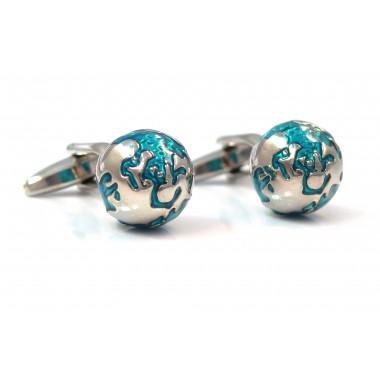 Niebiesko-srebrne spinki do mankietów - kula
