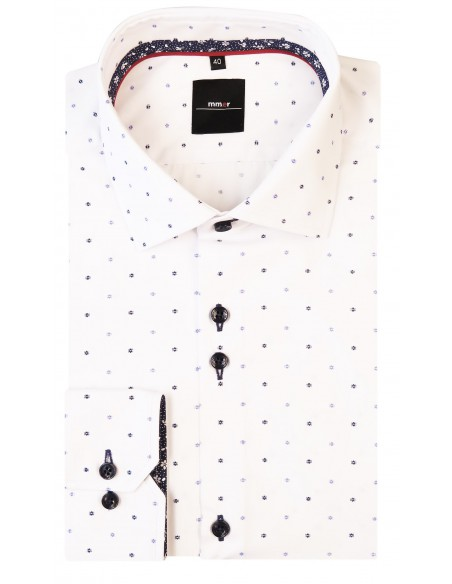 Biała koszula męska Mmer - granatowo-niebieski wzór 335