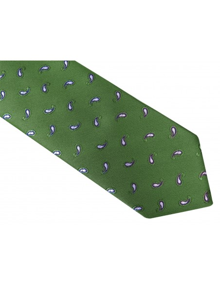 Zielony krawat męski w szaro-granatowy paisley D8