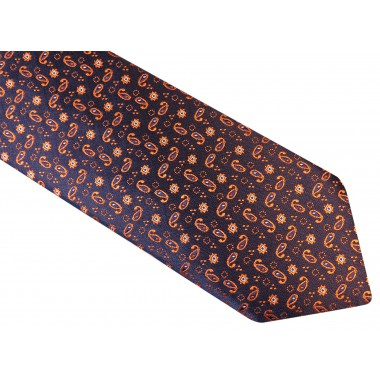Ciemno granatowy krawat męski - pomarańczowy wzór