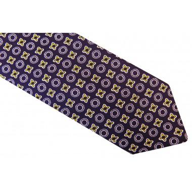 Czarno-biały krawat męski w unikatowy wzór D19