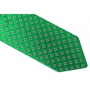 Granatowy krawat męski - biało-żółty wzór D21